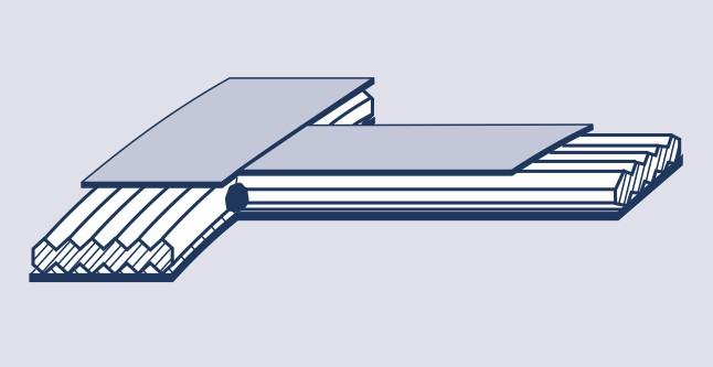 Metall-Weichstoff-Dichtungen. Hier eine Kammprofilierte-Dichtungen mit Steg und Auflage. Der Steg wurde angeheftet.