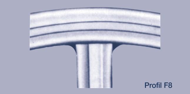 Metall-Weichstoff-Dichtungen: Hier eine Metallummantelte Dichtung, der Steg ist angeschweißt Profil F8