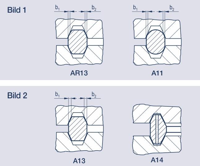 metall-Dichtungen: Hier Ring-Joint-Dichtungen mit Schmiegungsradius und zwei Ring-Joint-Dichtungen mit ebenen Dichtflächen