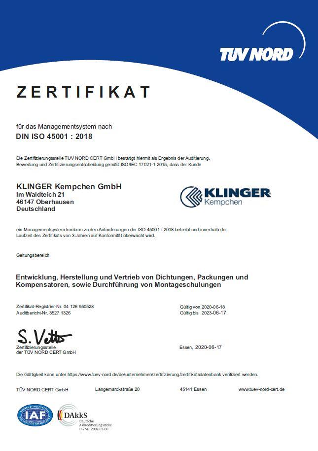 Zertifikat ISO 45001